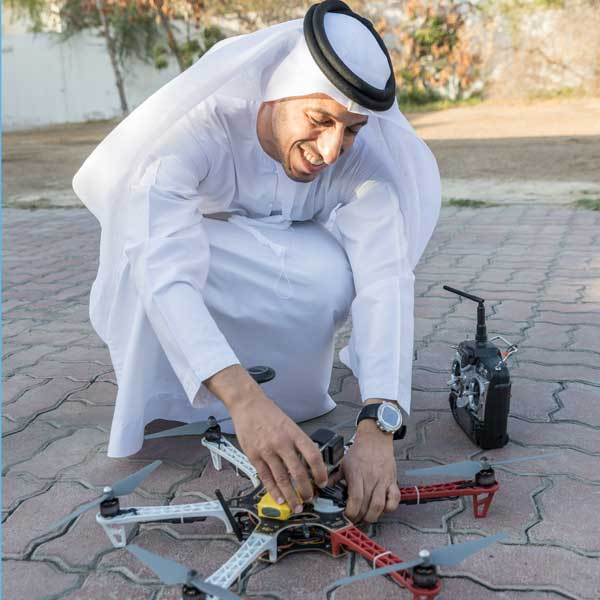 Mohammad Al-Shamsi with a drone