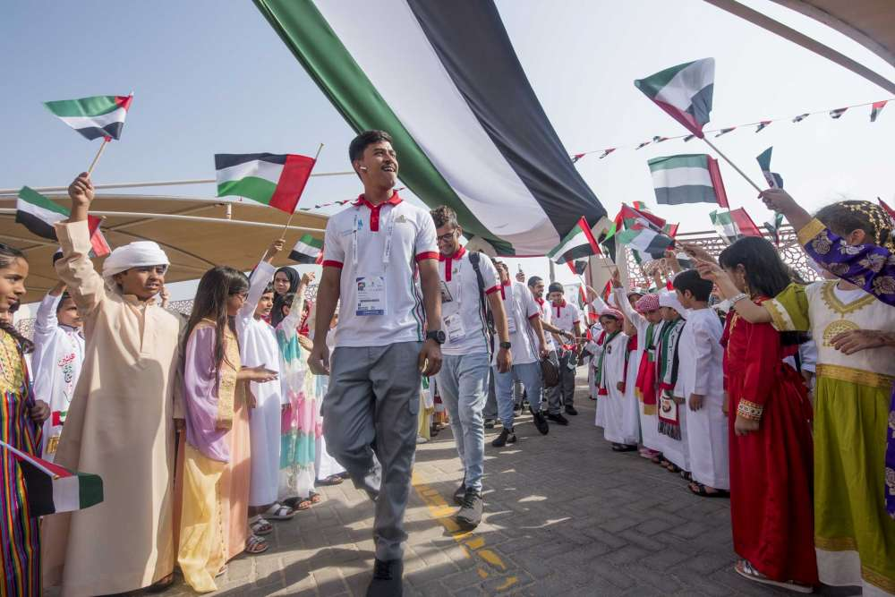 WorldSkills Competitors visit a school in Abu Dhabi